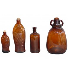 4 Brown Glass Bottles