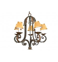 French Black Wrought Iron Chandelier