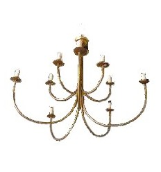 French Gold Metal Chandelier