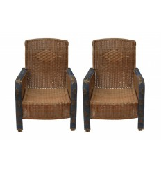 Pair Antique Wicker Armchairs
