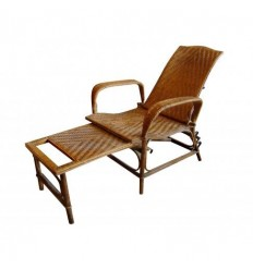French Bamboo Wicker Chair, Lounger